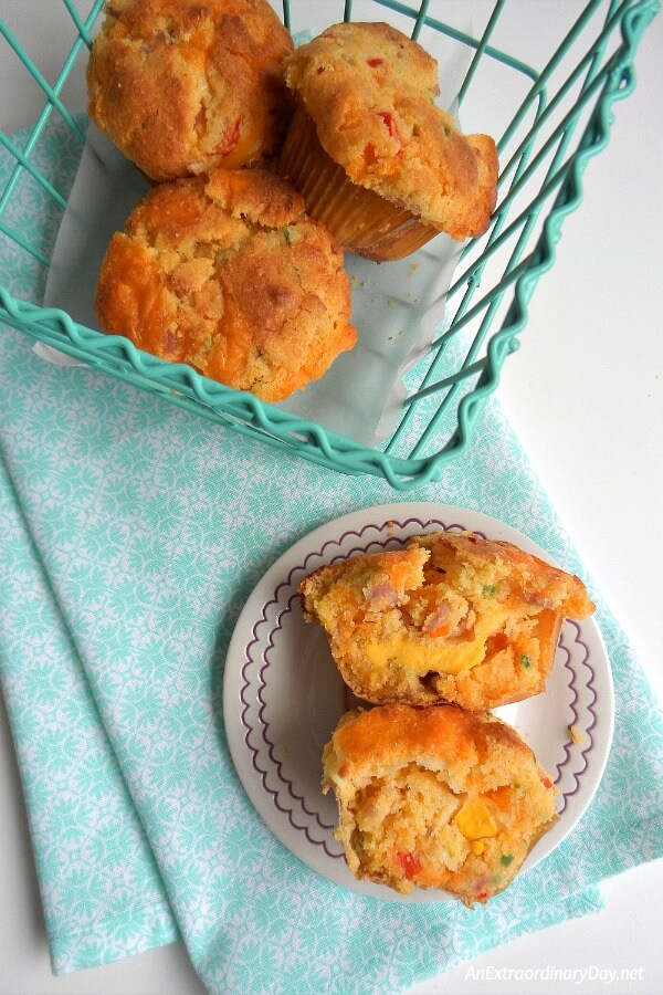 Ham, Cheddar Cheese, and Cornbread Muffins