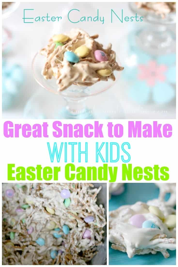These Easter Candy Nests (chow mein haystacks) are the perfect easy holiday treat to make with kids. Only 5 kid-friendly ingredients and lots of fun - beware of dirty, sticky hands!