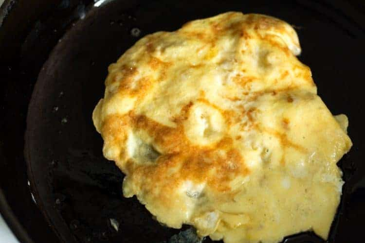 Flip and cook on other side - banana egg pancakes