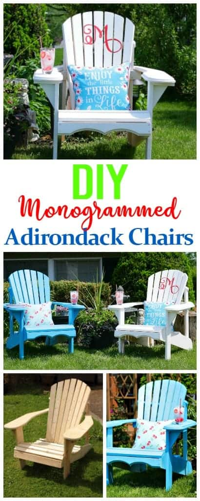 DIY Monogrammed Adirondack Chairs - perfect for wedding gifts monogrammed with Mr. and Mrs. or any special occasion.