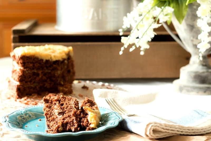 How to Make the Best German Chocolate Cake from Scratch - cake on plate and vintage cake platter