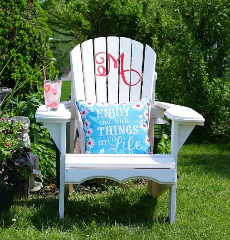 White Adirondack Chair with Monogram - so pretty and perfect for gift giving!
