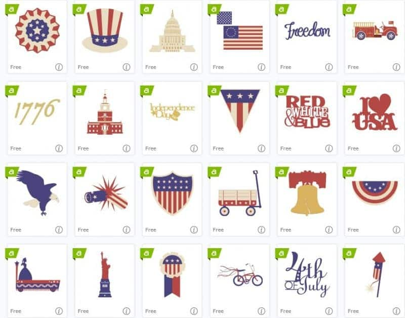 Cricut Design Space 4th of July Free Cut Images