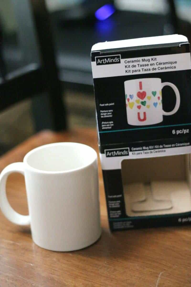 ArtMinds Ceramic Mug Kit from Michael's used to make a personalized mug with Cricut vinyl