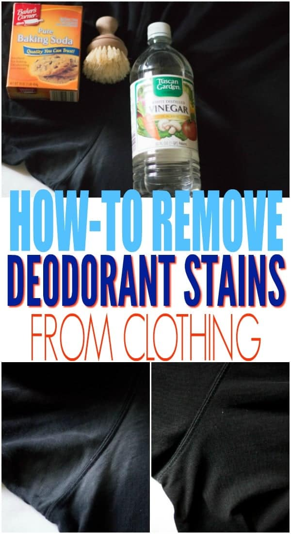 3 photos of dark clothes, 2 with caked on deodorant stains and one without to show how to remove deodorant stains from clothes