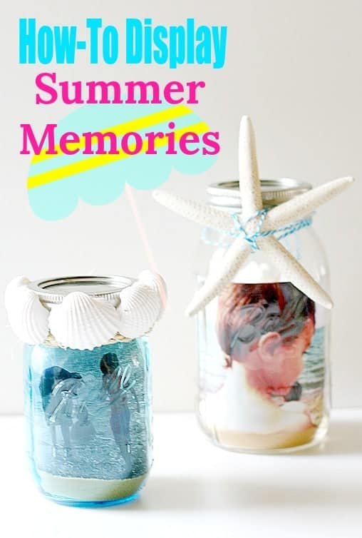 How-to display and style summer memories - seashells, sand, starfish, and photos