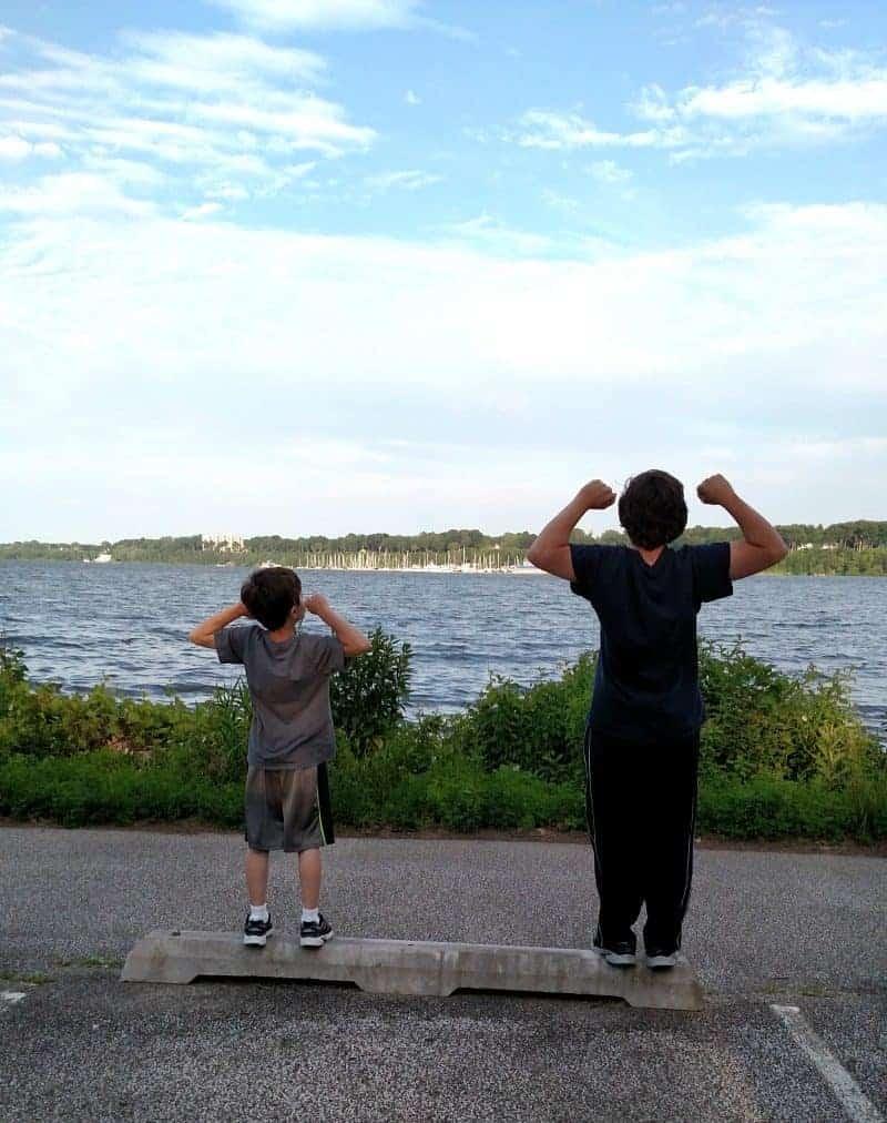 Jordan and Max Lake Erie July 2015