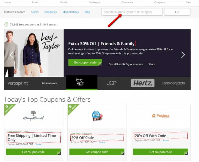 Main Groupon Coupon Page - search by category or store and get coupons!