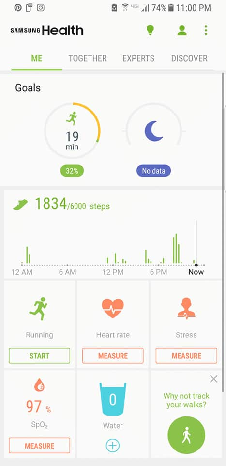 Samsung Health App - Samsung Galaxy S8 increasing productivity