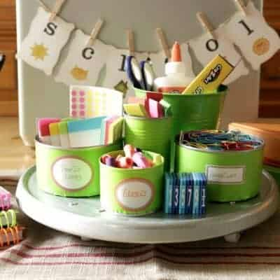 Back to school homework station created with some empty and upcycled tin cans and items from the Dollar Tree.