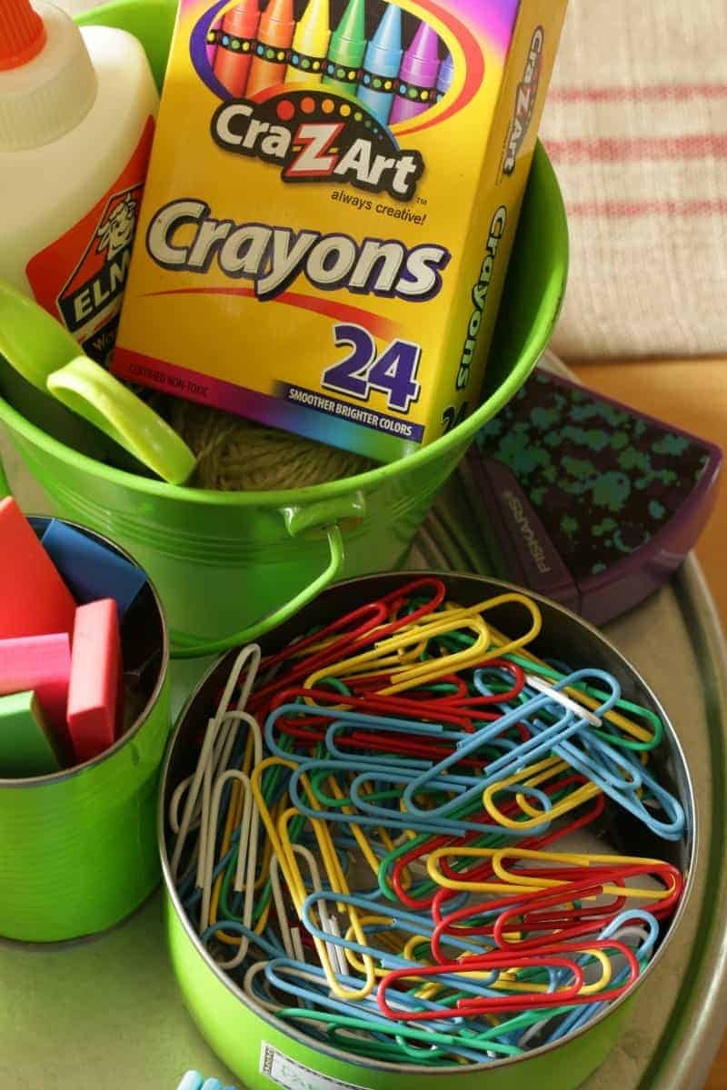 Colorful Back to School Supplies. Organize and create a back-to-school homework station with inexpensive items from the Dollar Tree and upcycled Tin Cans
