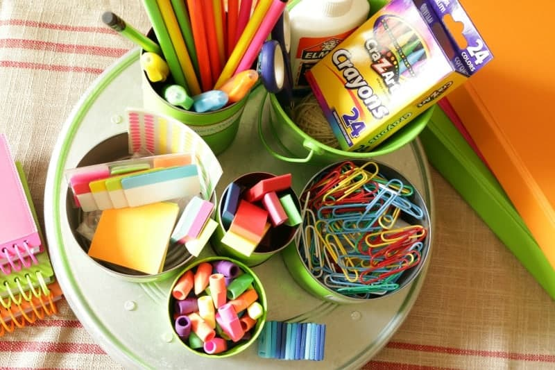 Colorful back to school homework station made with upcycled tin cans and items from the Dollar Tree