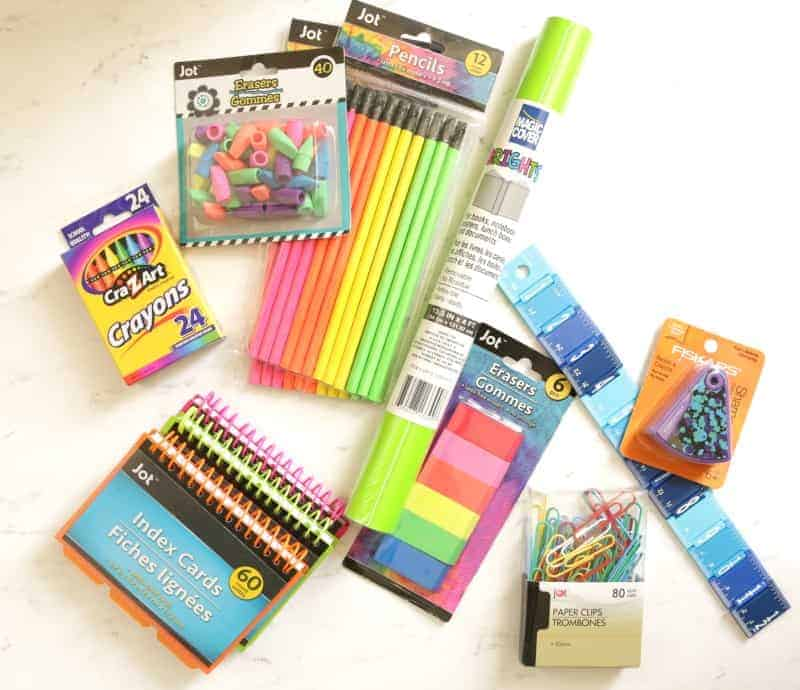 Create a colorful back to school homework station with items from the Dollar Tree