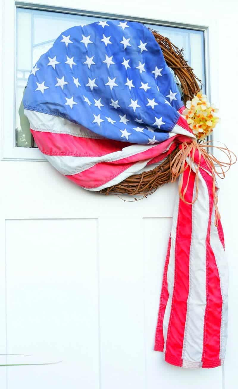 Old Glory Americana Wreath DIY - Let me show you how to make this easy and patriotic wreath in less than 5 minutes!