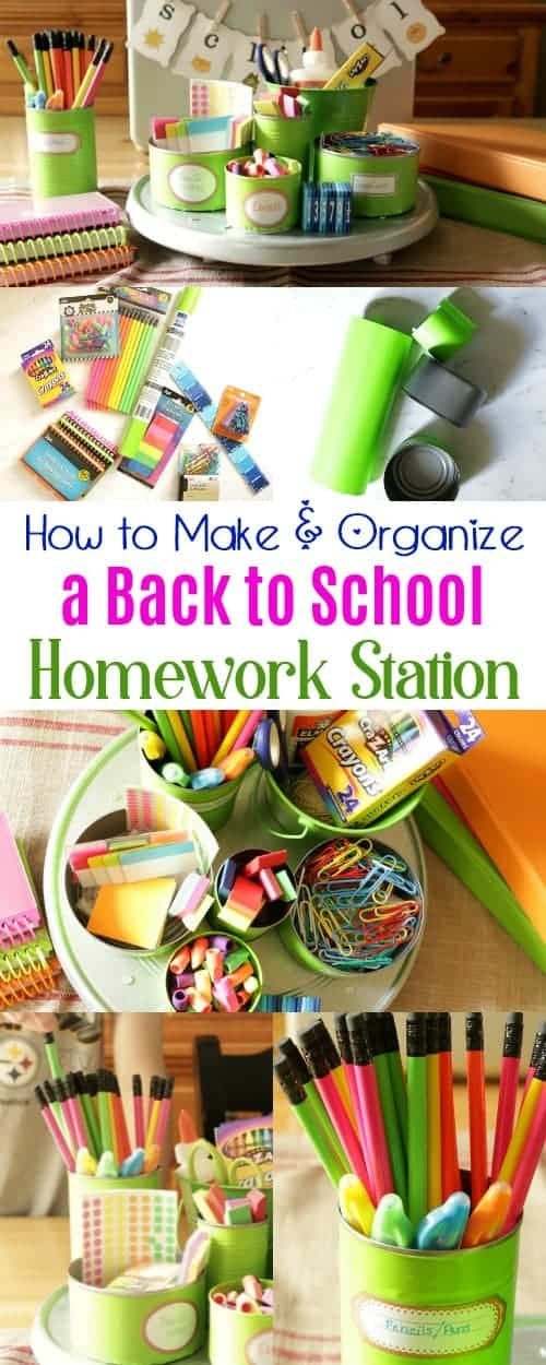 How to make and organize a back to school homework station using upcycled tin cans and items from the Dollar Tree