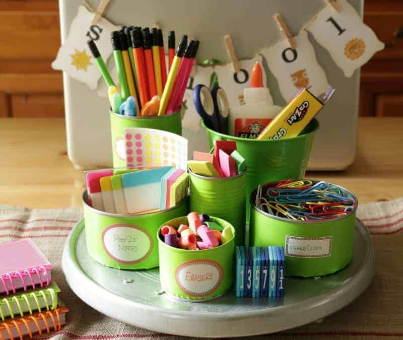 Save your tin cans and use them to organize a colorful and useful back to school homework station.
