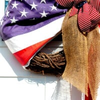 Beautiful American Flag Grapevine Wreath with Burlap Bow