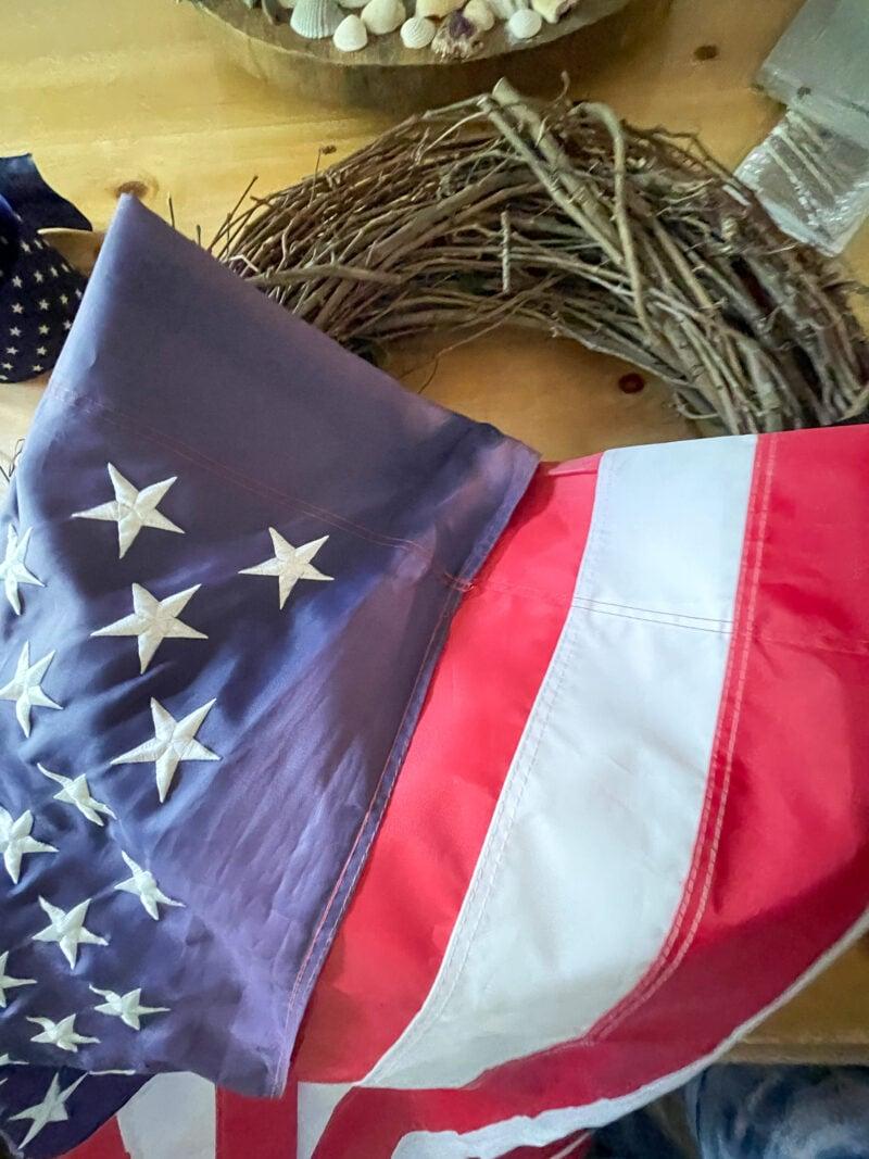 American flag folded in half to make an American Flag Wreath