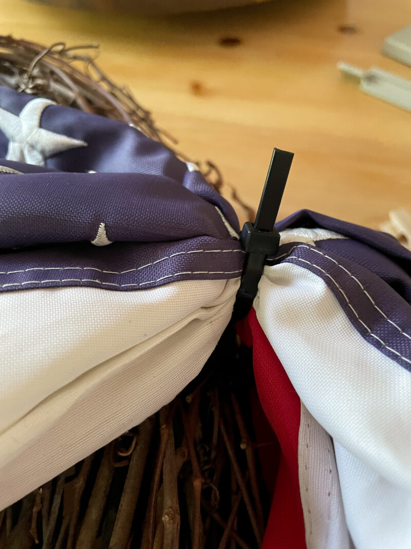 American Flag Zip Tied in place to a Grapevine Wreath
