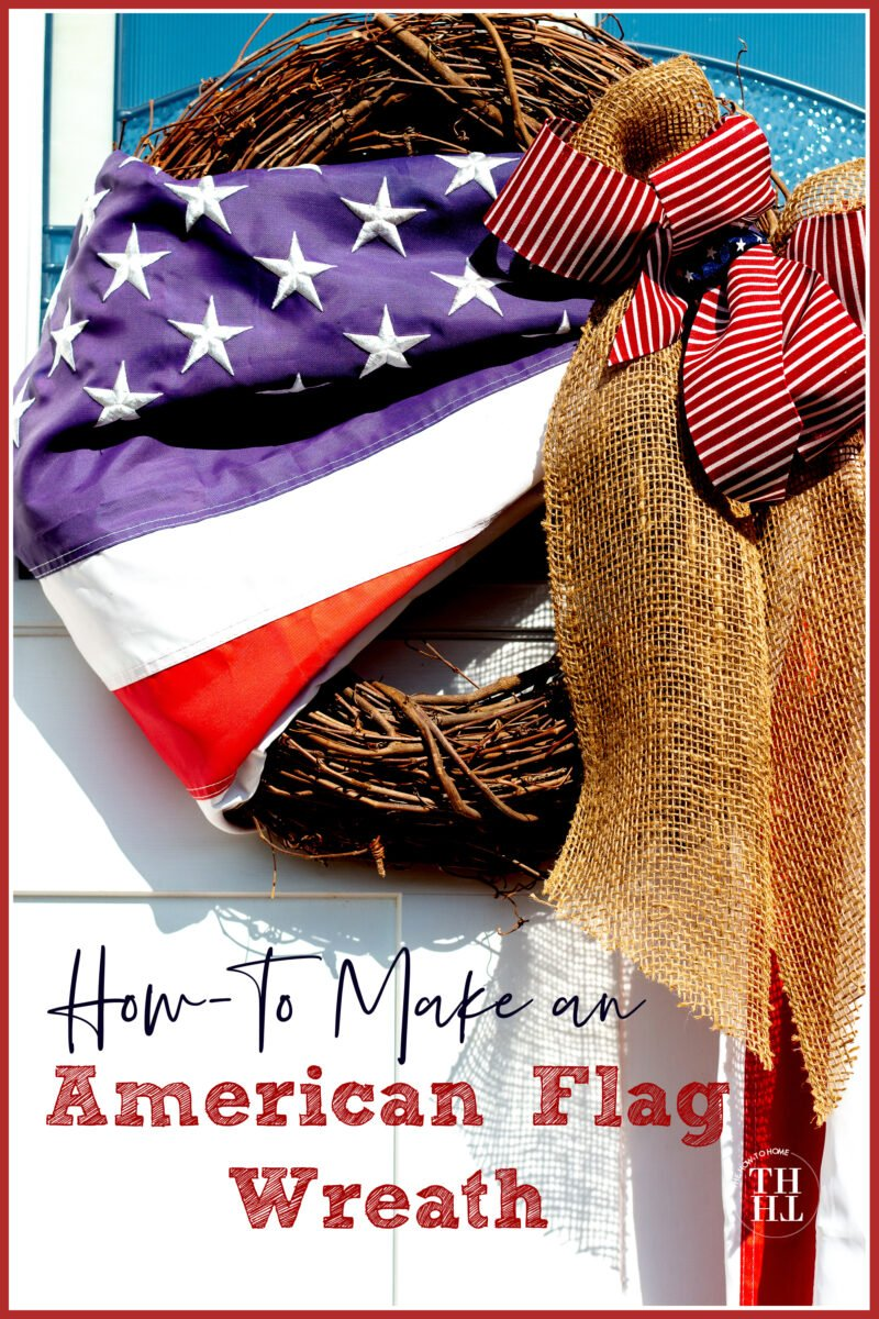 American Flag Wreath with Burlap Bow on white front door