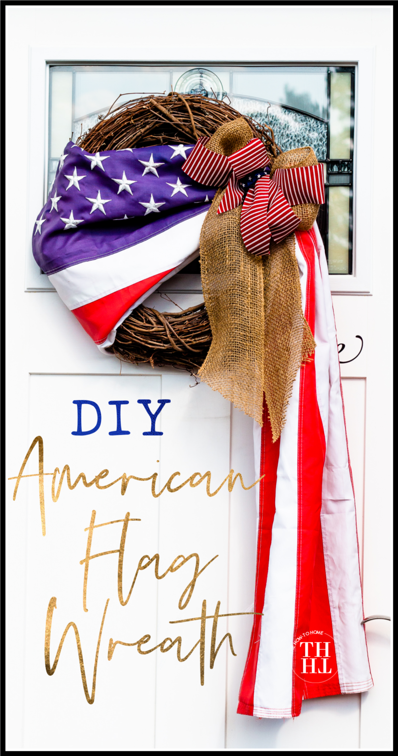 American Flag Wreath with Burlap Ribbon on Front Door