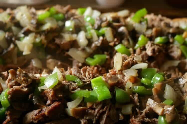 The Best Philly Cheese Steak for a Crowd - sauteed onion, bell pepper, and mushroom