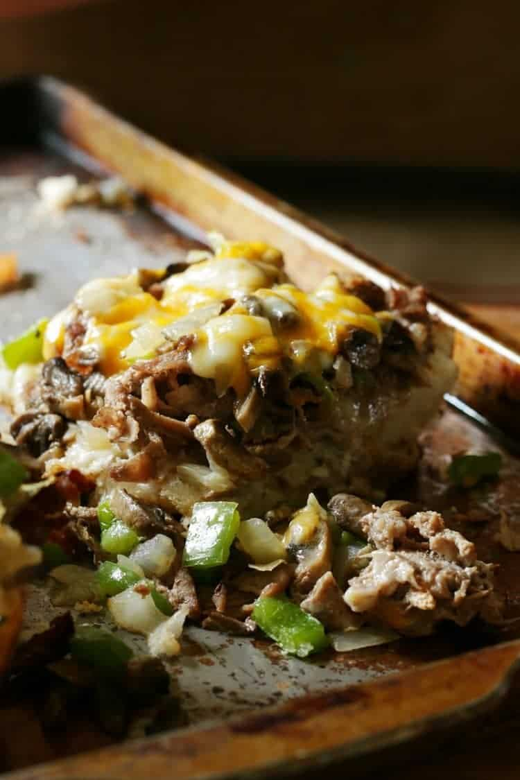 The Best Philly Cheese Steak - sliced for serving