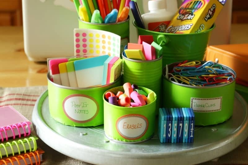 Upcycle Tin Cans to organize and create a back to school homework station