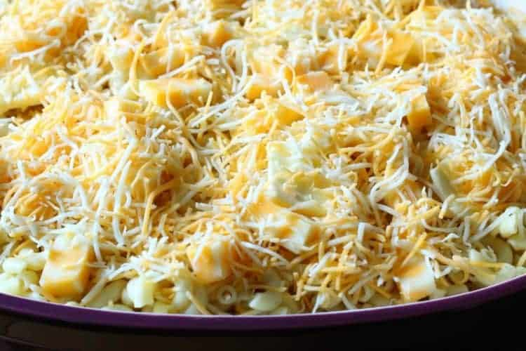 Homemade oven-baked macaroni and cheese - final layer close up