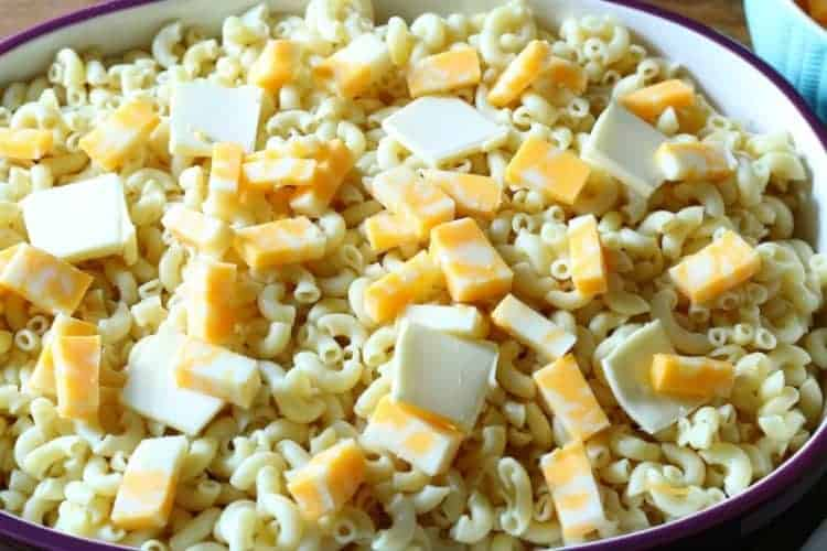 Homemade oven-baked macaroni and cheese - second layer of cubed Colby Jack Cheese