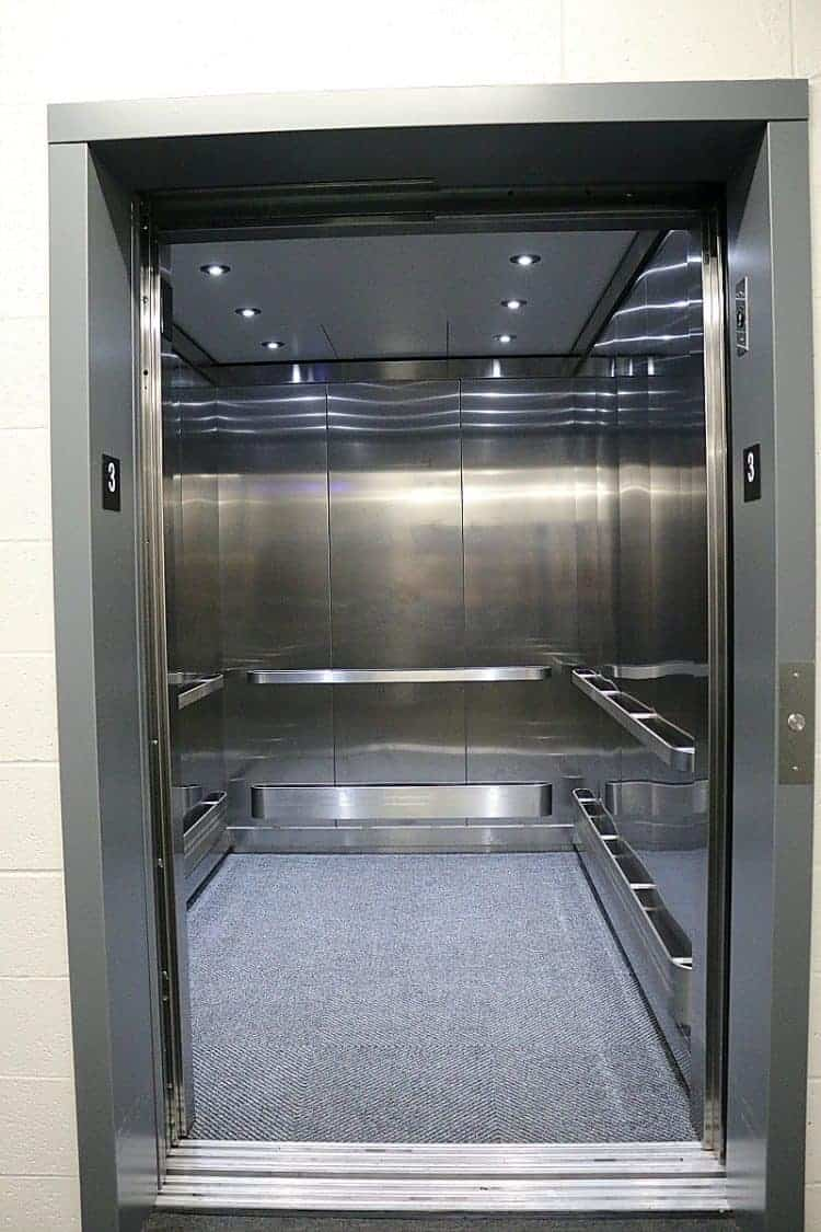 Super awesome and clean stainless steel cargo elevator at #GuardianStorage Home Remodel