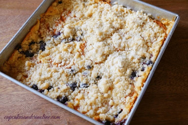 Apricot and Blueberry Cake fresh out of the oven ~ cupcakesandcrinoline.com