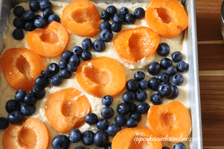 Apricot and Blueberry Cake alternating rows of fruit ready for the oven ~ cupcakesandcrinoline.com