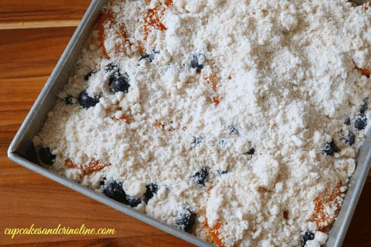 Apricot and Blueberry Cake with topping before being baked ~ cupcakesandcrinone.com