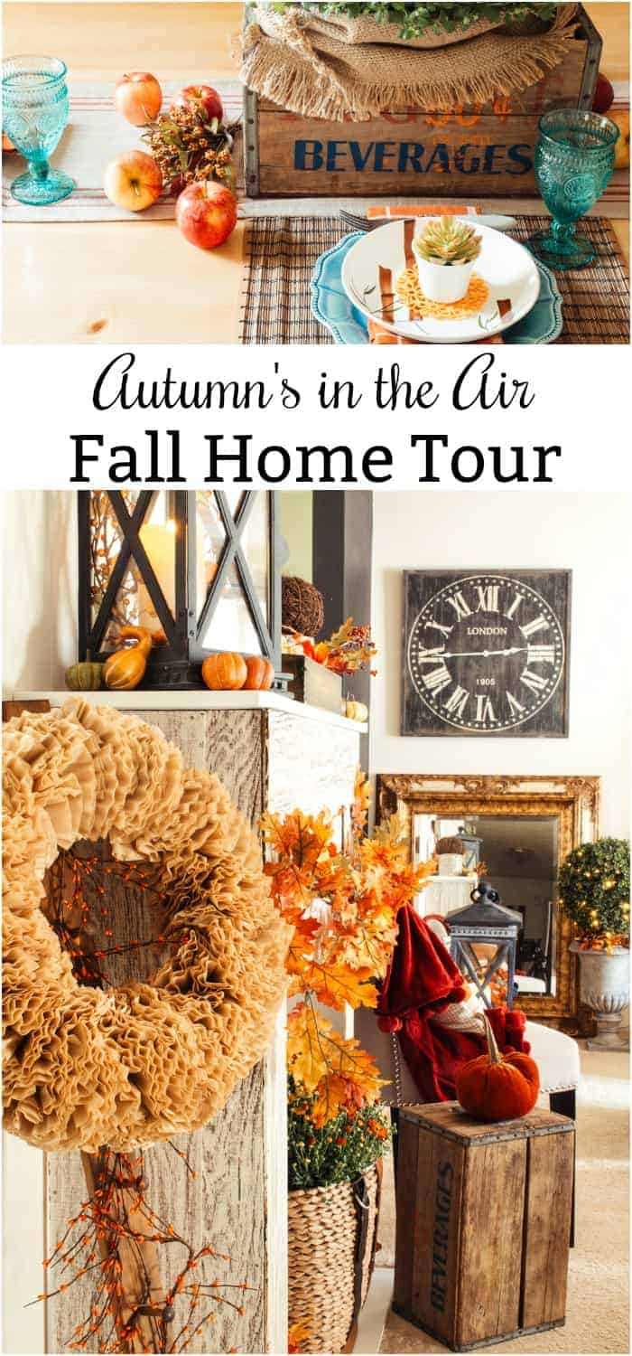 collage with two photos of fall decor depicting Autumn's in the Air