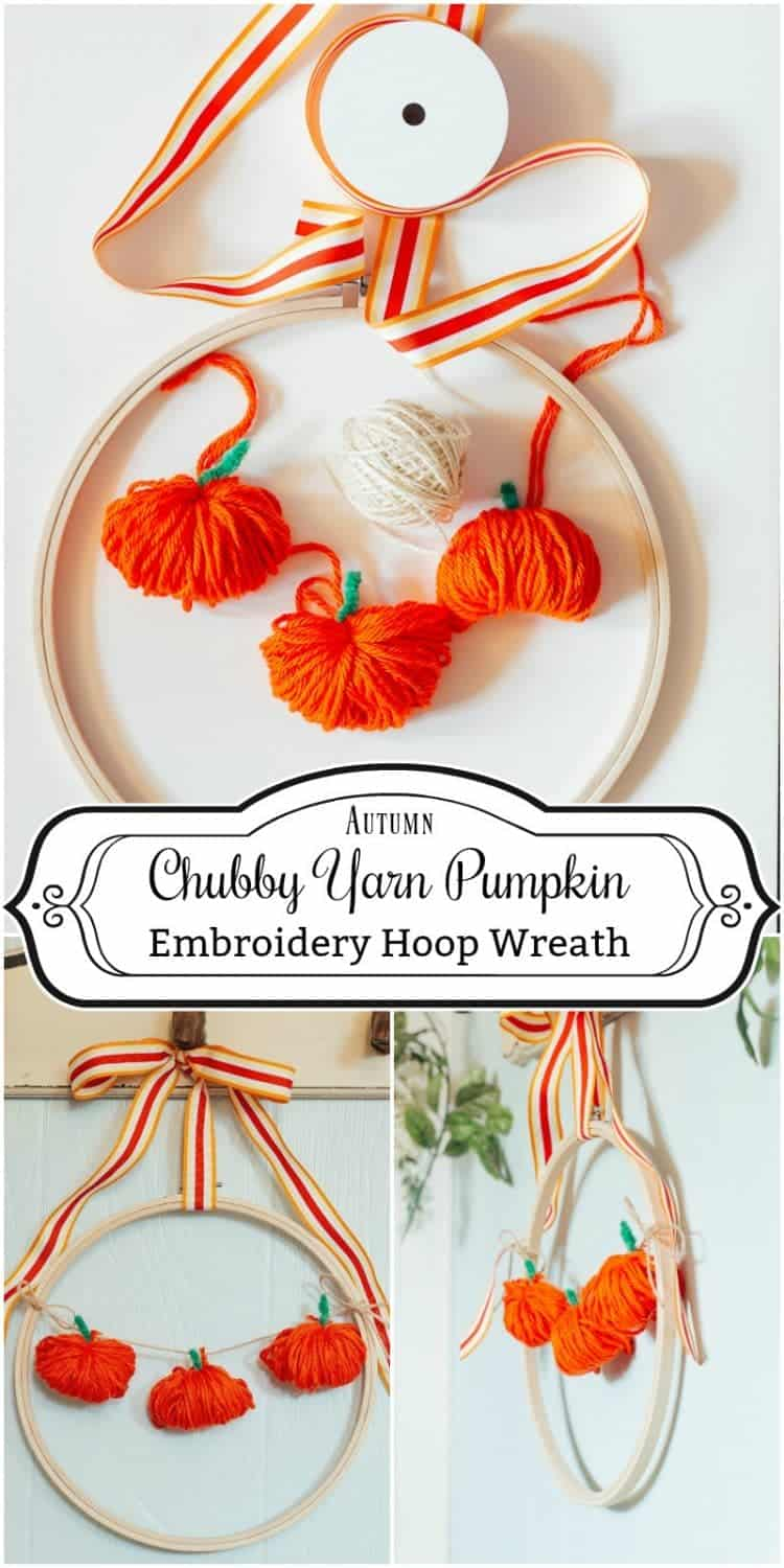 How to make a chubby yarn pumpkin - perfect for adding to an embroidery hoop and making a wreath or for using as an adorable fall garland.
