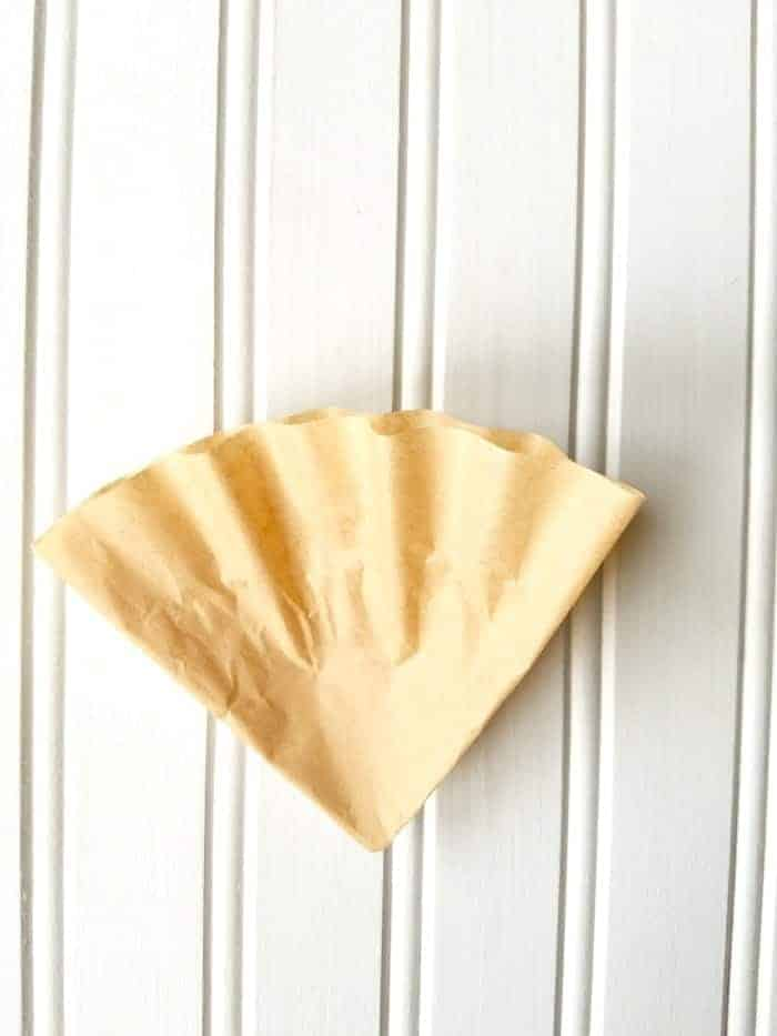 Coffee Filter Folded in half again (fourths) for Coffee Filter Wreath