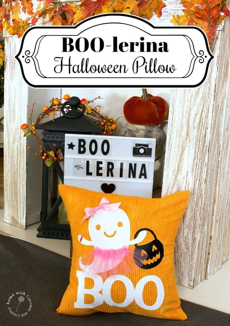 Decorate for Halloween with this easy-to-make super cute Girl Ghost Boo - lerina pillow made with fabric and a Cricut - Boo-lerina Halloween Pillow