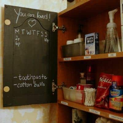 Cover a medicine cabinet door with chalkboard paint and use it to keep track of medication usage, temperature readings, and inspiration!