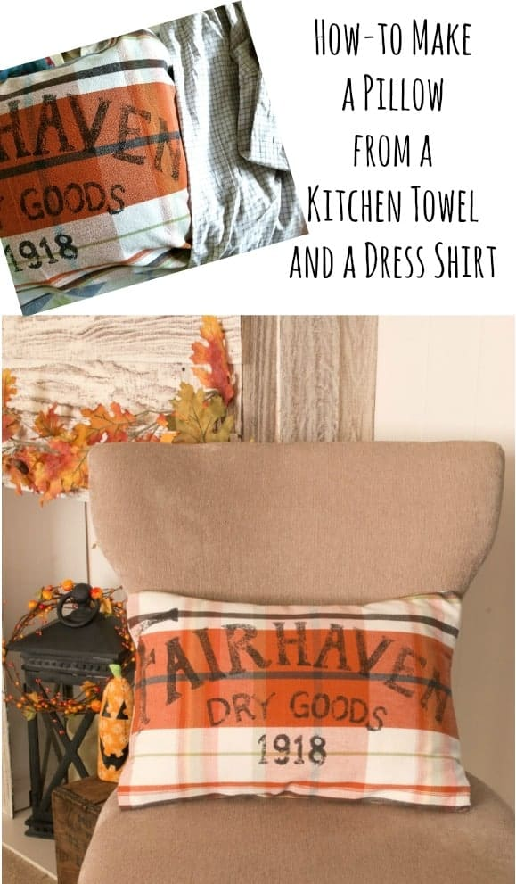 Minimal sewing is needed to make this pretty pillow cover from a kitchen tea towel and an old, upcycled, dress shirt.