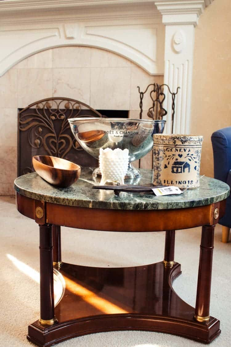 Marble Table with Thrift Store Finds