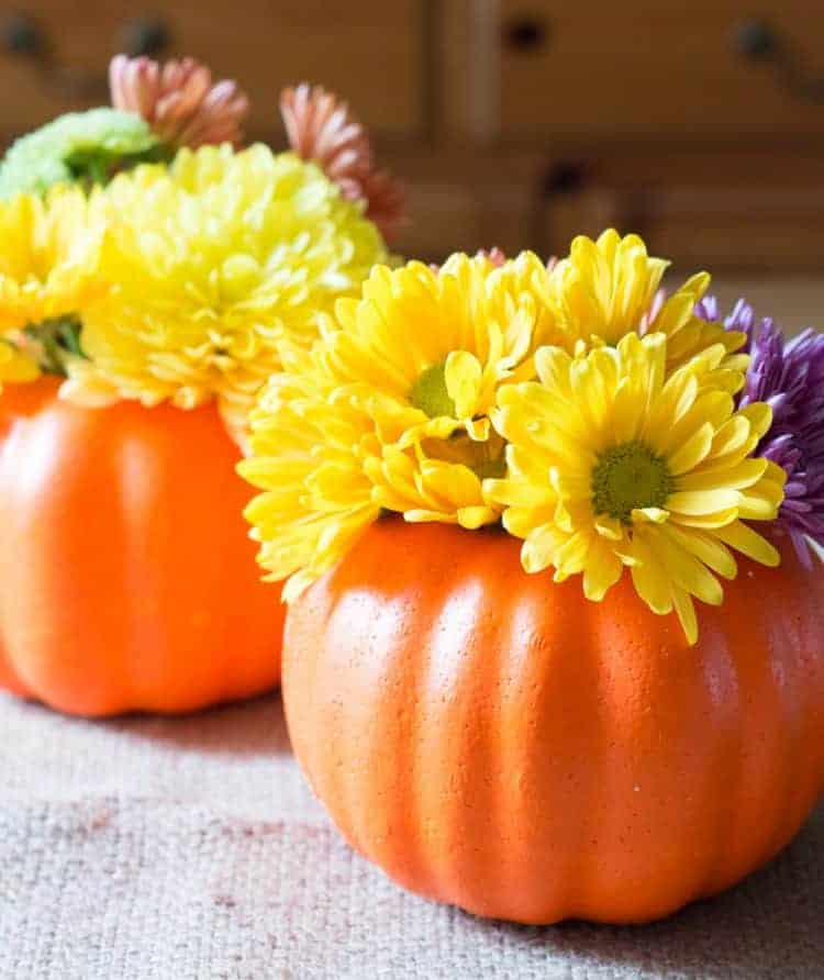For less than $3.00 you have make a beautiful pumpkin vase centerpiece using a faux pumpkin from the dollar store.