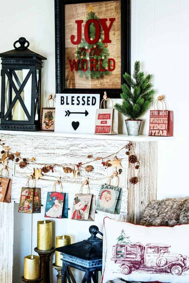 How To Style a Fun Christmas Lodge Style Mantel