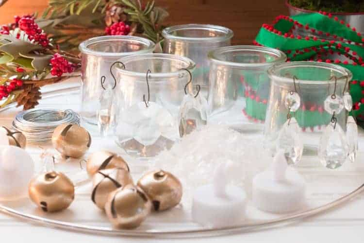 DIY Chandelier Made with Glass Oui Yogurt Jars #CreativeChristmas