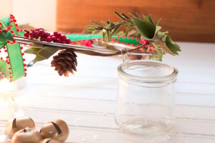 DIY Chandelier Made with Glass Oui Yogurt Jars #CreativeChristmas