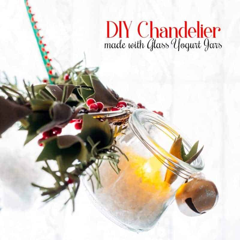 DIY Chandelier Made with Glass Oui Yogurt Jars