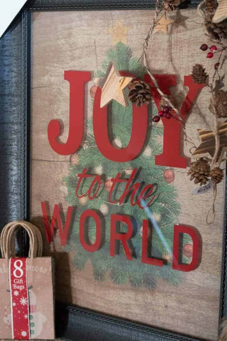 How To Style a Fun Christmas Lodge Style Mantel - JOY to the World Framed Wall Art