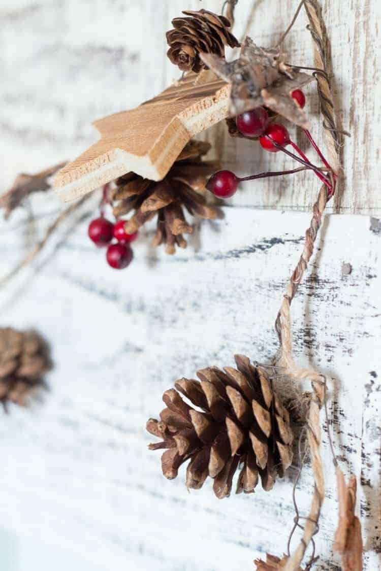 How To Style a Fun Christmas Lodge Style Mantel - rustic garland for Christmas from At Home.