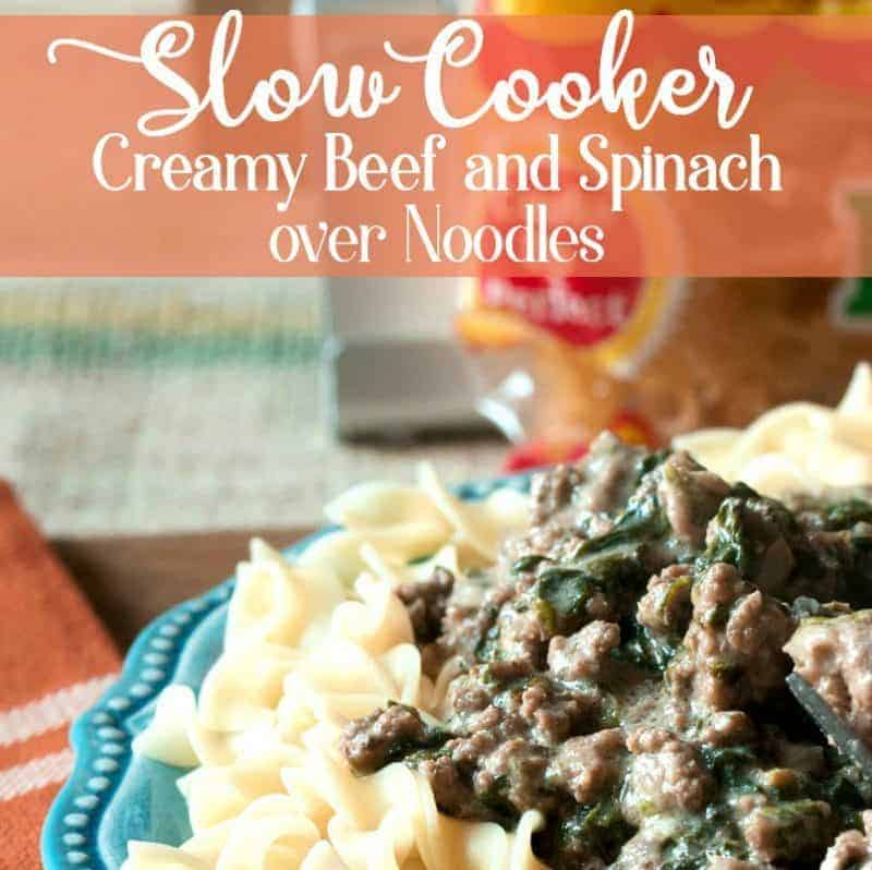 Slow Cooker Creamy Beef and Spinach over Noodles from cupcakesandcrinoline.com