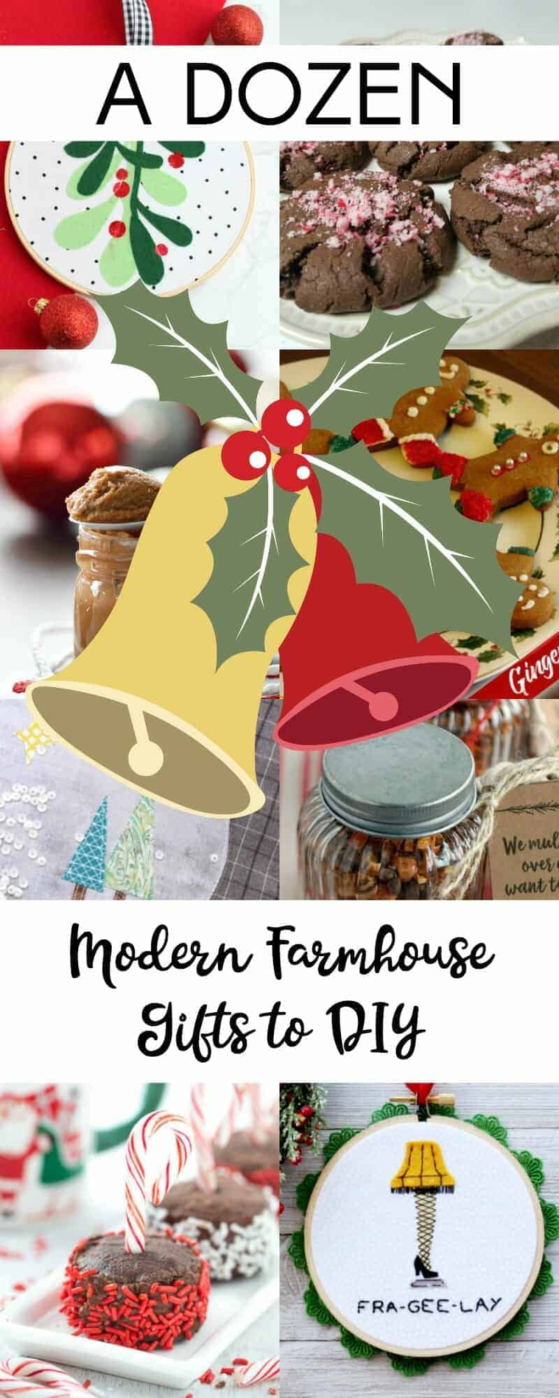 Long collage of 12 farmhouse gifts to DIY for Christmas